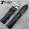 Faixa de relógio 20mm 22mm New Mens t Pulseiras Cinta Faixa de Relógio de Couro Preto Genuíno Para AR1647 AR1677 AR0382