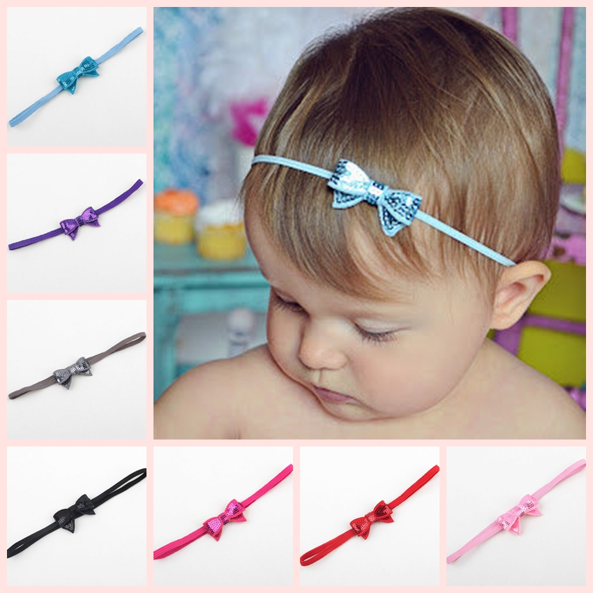 Retail 2017 Infant Sequin Bow Headband With Thin Elastic Band Toddler Girls Sequin Bow Headbands New Arrival Baby Headband