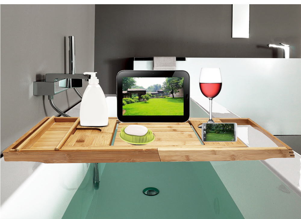 Vasca Da Bagno Metallo : Bambù bathtubtray handcrafted vassoio da bagno mensole bagno vasca