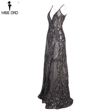 Missord 2018  Summer Sexy V-neck Off Shoulder Middle Split Women Dress Sequin See Through Maxi Party Dress  FT5139-5