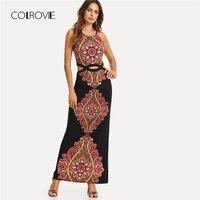 COLROVIE Geo Print Cutout Midriff Cami Dress 2018 New Summer Pearls Boho Maxi Dress Halter Floral