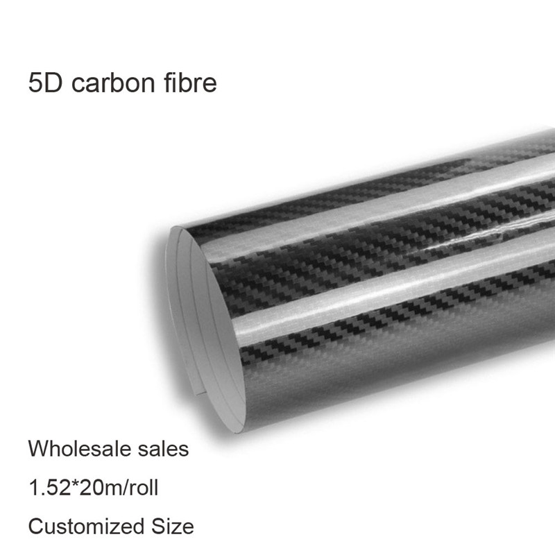 Black 5D HIGH GLOSS Carbon Fiber Vinyl Stripe Car Hood Roof Decal Sticker 1.52*20m roll fast shipping
