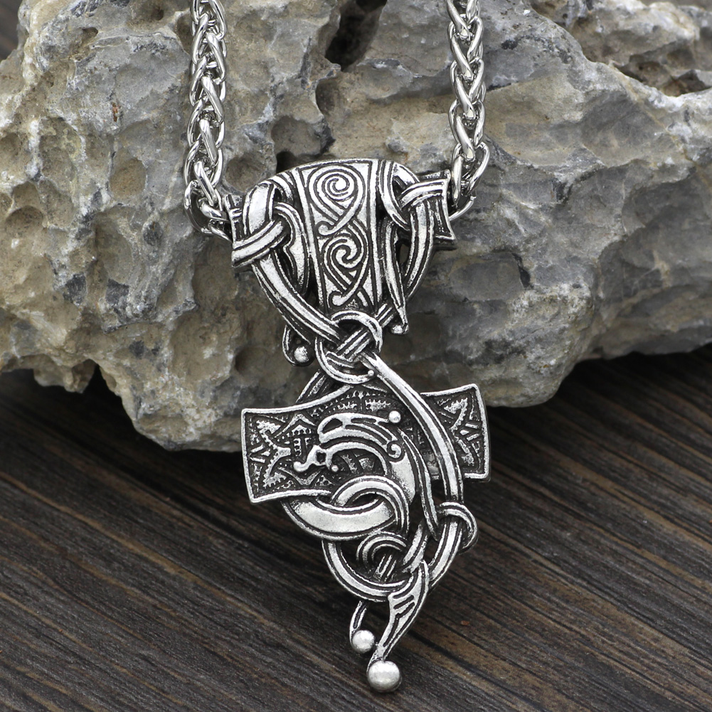 """VIKING THOR/'s HAMMER MJOLNIR Charm Pendant Necklace 20/"""" Silver Plated chain Gift"""