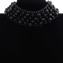 BK 2 Colors Fashion Jewelry Luxury Cluster Pearls Choker Chunky Statement Bib Necklace New
