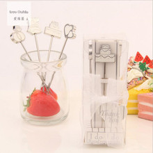 Fairy Tale stainless steel fruit fork 80pcs=20box=20set Wedding Favor Creative wedding gift Gift Box Each 4pcs = 1box