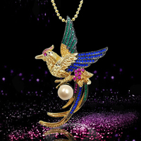 Retro Euramerican Style Freshwater 8mm Pearl Bird Phoenix Brooch Pin For Women Crystal Breastpin With Chain
