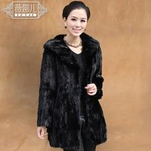 Mink fur coat medium-long slim women's mink fur overcoat