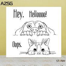 AZSG Hello cat/dog  Clear Stamps For Scrapbook DIY Photo Cards Account Rubber Stamp Finished Transparent Chapter Size 14*14cm недорго, оригинальная цена