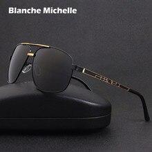 2020 kare Metal çerçeve güneş gözlüğü erkekler polarize sürüş UV400 Retro güneş gözlüğü erkek óculos masculino sunglass kutusu ile