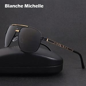 Image 1 - 2020 kare Metal çerçeve güneş gözlüğü erkekler polarize sürüş UV400 Retro güneş gözlüğü erkek óculos masculino sunglass kutusu ile