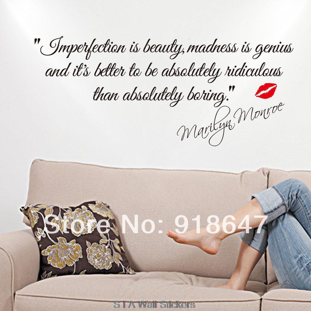 Neue Hohe Qualitat Englisch Zitate Wandaufkleber Unvollkommenheit Ist Schonheit Marilyn Monroe Wandtattoo Kunst Aufkleber Dekoration In Neue Hohe Qualitat