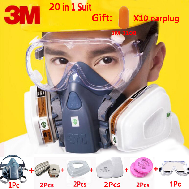 3M 7502 Half Face 20 In 1 Respirator Gas Mask With Safety Work 1621 Goggles Industry Dust Proof Mask With 1100 Earplug 3m 7502 18 in 1 suit spraying painting respirator gas mask half face anti dust mask with 1621 safety protection goggles