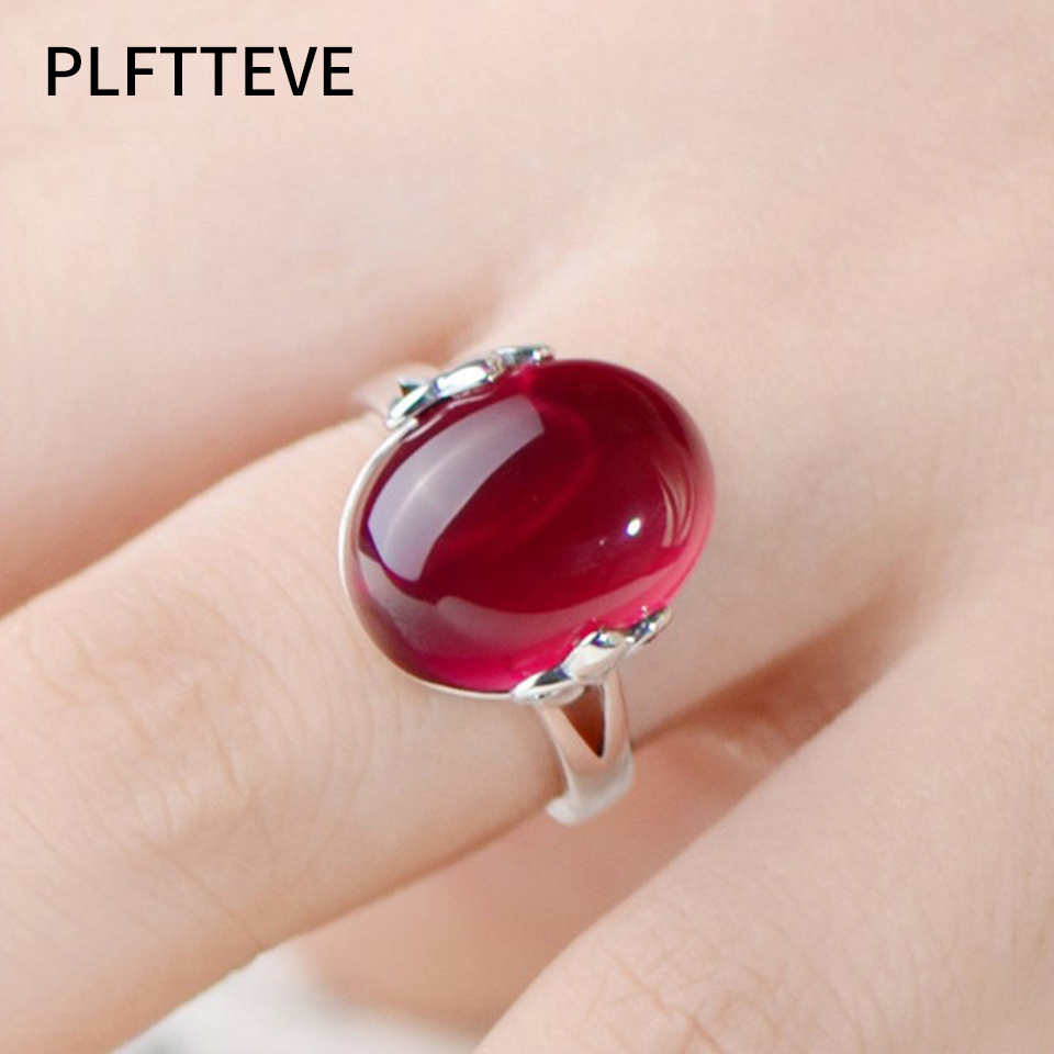 Leaf Trendy Ring Aneis Red Purple zircon stones Gun Black / Silver ...