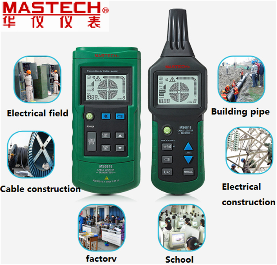 Digital MASTECH MS6818 advanced wire tester tracker multi-function Cable detector 12~400V Pipe Locator Meter With blacklight mastech ms6818 portable instruments professional cable locator wire tracker pipelines detector tester ac dc voltage 12 400v