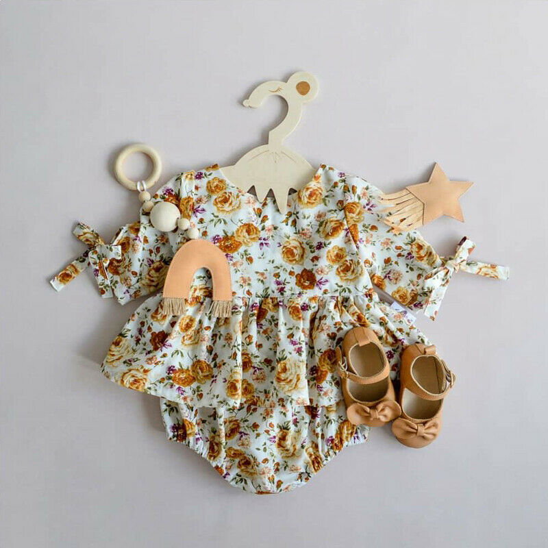 0-24M Newborn Kid Baby Girls Clothes Summer Short Sleeve Cotton Floral Bodysuit Elegant Ruffles Dress Sunsuit Cute Outfits