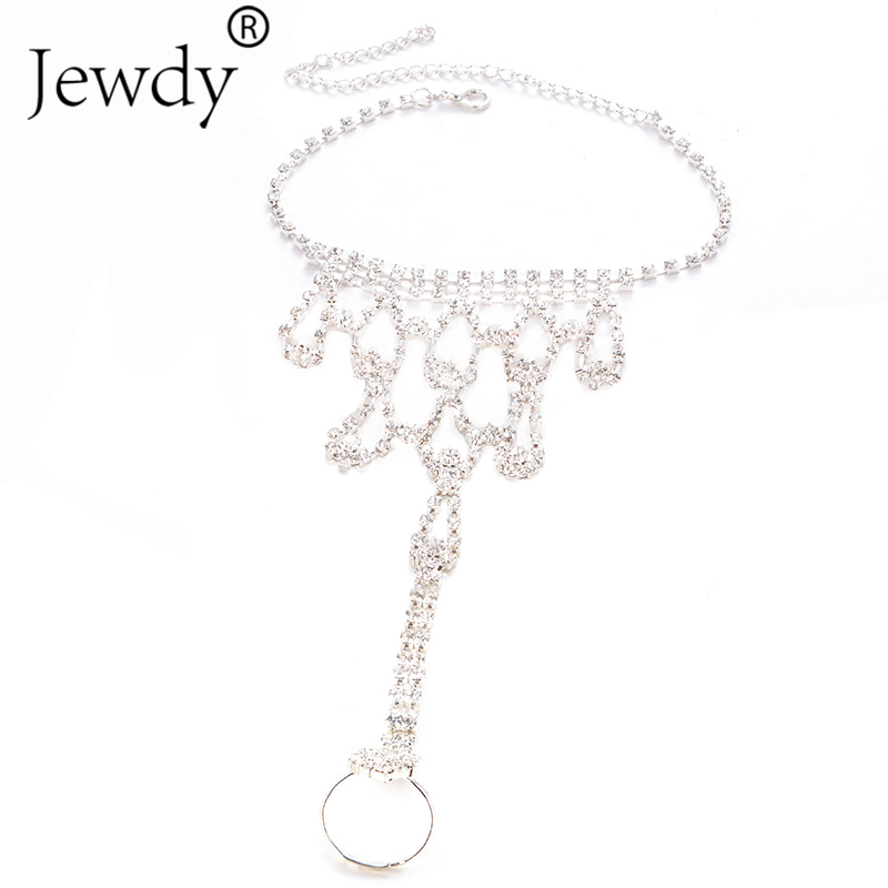 Bride New Rhinestone Flower Anklet Foot Anklet Summer Charm Toe Anklet Tassel Sandals Beach Foot Jewelry Gift