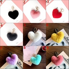 цены на Cute Rabbit Hair Heart-shaped Plush Ball Keychain Fashion Keyrings for Girls  в интернет-магазинах
