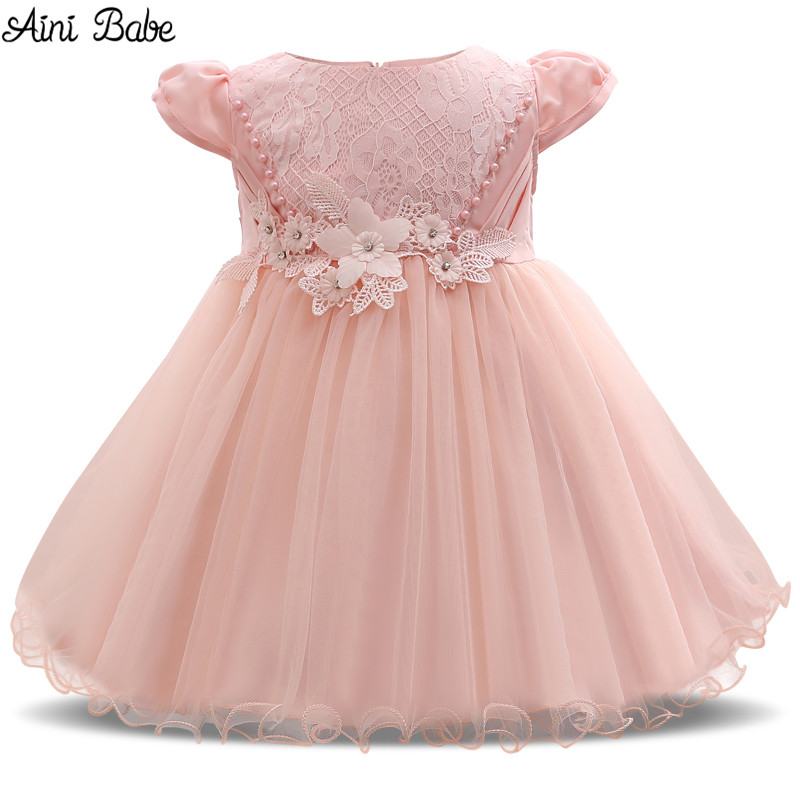 Aini Babe Baby 1st Birthday Dresses For Girls Beauty Lace Flower Girl Wedding Dress Little Baby Child Christening Gown Infant 2T