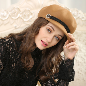 Image 4 - סתיו וחורף אישה מוצק צבע מתומן כובע גברת מסיבת אופנה 100% צמר הרגיש כובעי Newsboy