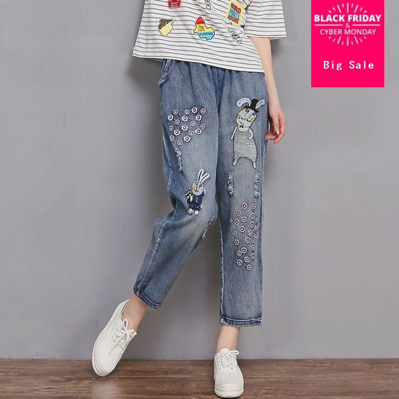 2XL-6XL High Quality Fashion Embroidery cartoon jeans female 2018 new loose large size was thin high waist denim pants L832