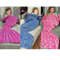 New Kids/Adults Fish Scale Mermaid Tail Hand Crocheted Sofa Knit Lapghan Blanket