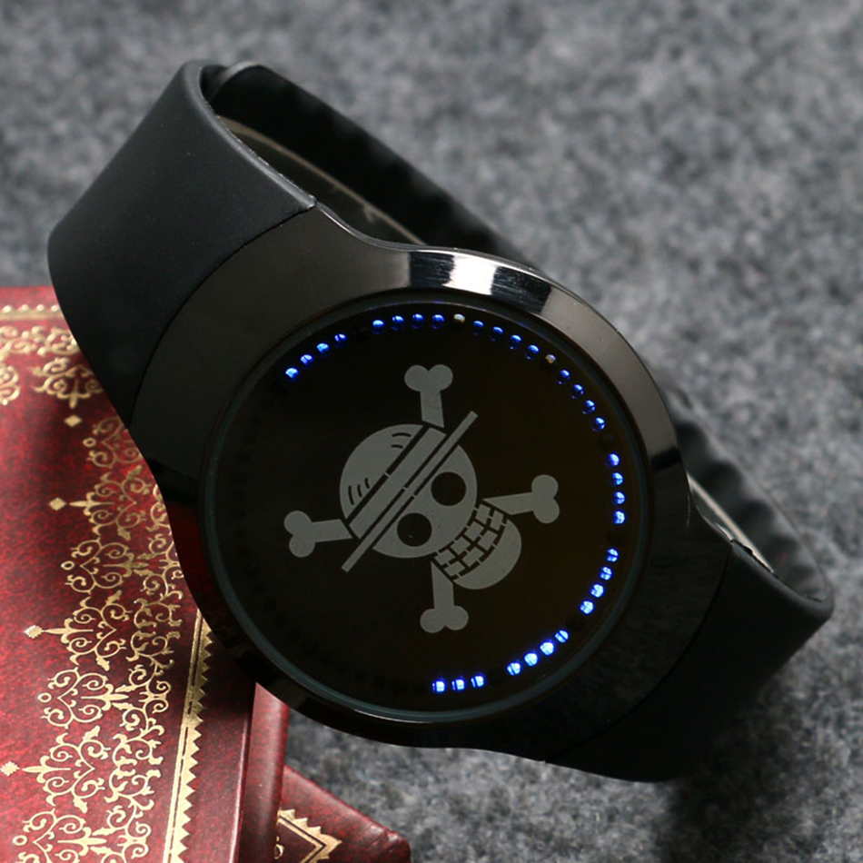 New Arrival Onepiece Skull Touch Screen Rubber Band Strap Business Stylish Sport Simple Analog Women Men Quartz Watch (12)