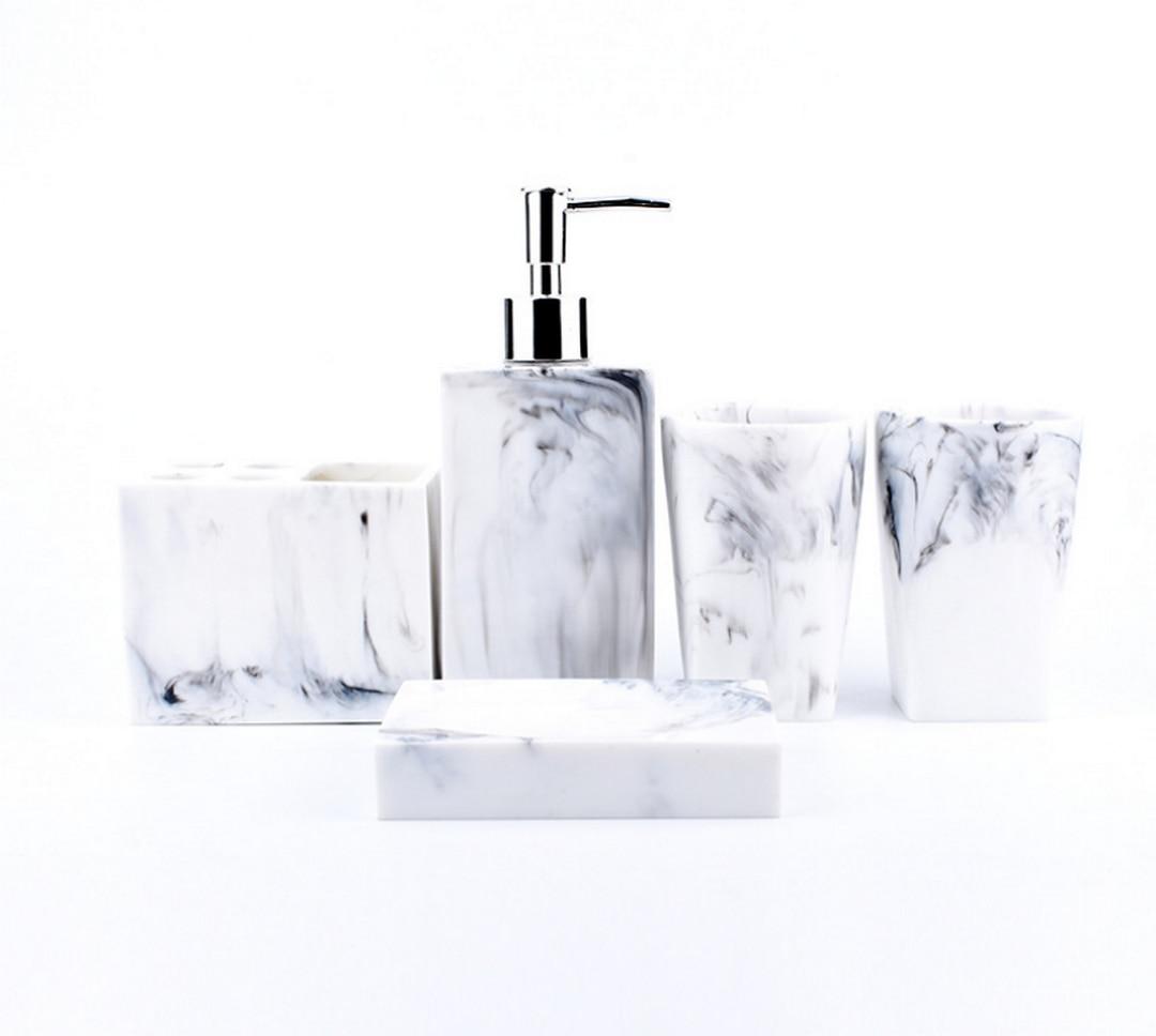 Fashion 5pcs Kit Resin Wash Bathroom Accessories Set Ceramics Soap Dispenser Toothbrush Holder Soap Dish Bathroom ProductLFB289 in Bathroom Accessories Sets from Home Garden
