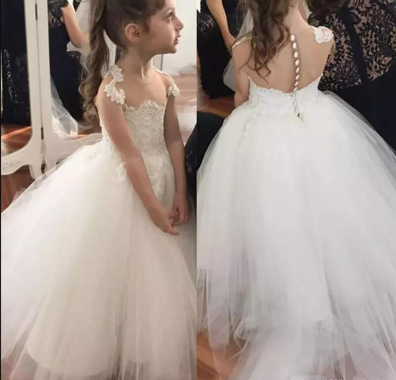White Flower Girl Dresses For Wedding Sheer Jewel Neck Capped Sleeves Girl Ball Gown Pageant Party Dress Custom Made stylish jewel neck long sleeves solor color corduroy dress for women