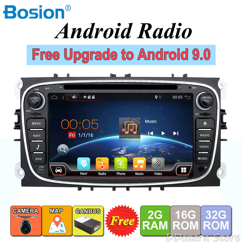 2 din Android Quad Core lecteur DVD de voiture GPS Navi pour Ford Focus Mondeo Galaxy avec Audio Radio stéréo unité de tête gratuite Canbus