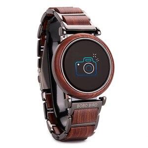 Image 4 - BOBO BIRD Touch Screen Electronic Movement Watch Wood Luxury Wristwatch Men Smart Timepiece Relogio Masculino J R27