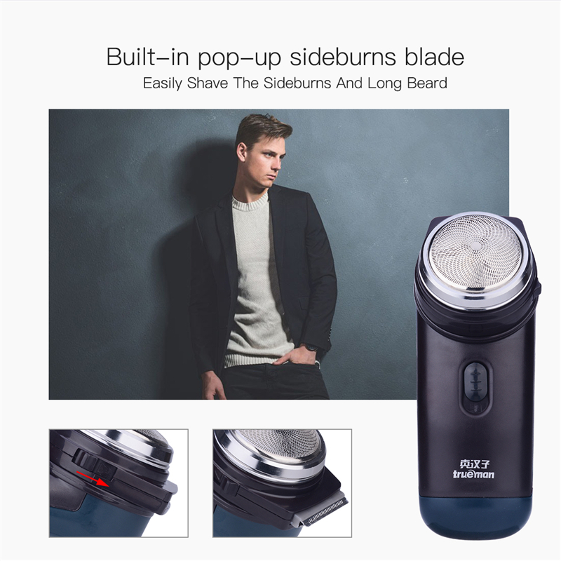 Portable Travel Mini Shaver Beard Trimmer with Stainless Steel Blade Rotary Single Blade Razor Men's Mustache Cutter Dry Use plastic stainless steel single serve blade