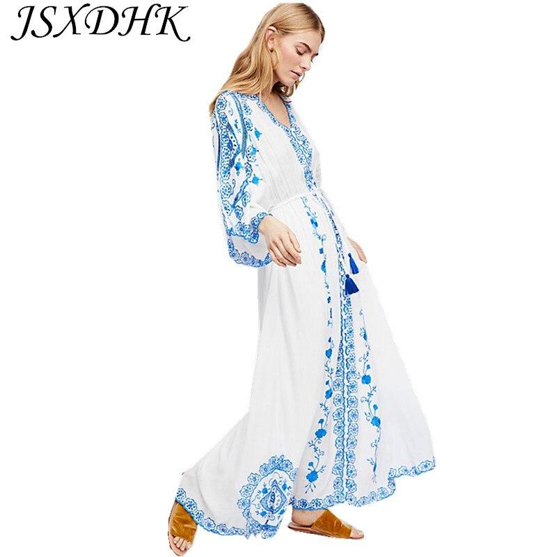 6849f025ca Robe Et Piste Broderie Jsxdhk Maxi Blanc Porcelaine Coton D'été Vacances  Longue Boho 2018 Bleu Floral Femmes Gland U8qq7nET