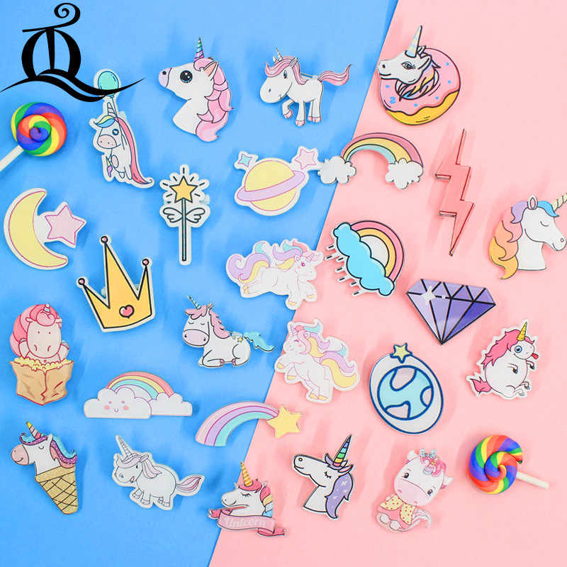 Mix 1 PCS pink Unicorn Cartoon cute Icons Acrylic Badges for Backpack Badges Clothes Plastic Badge Kawaii Pin brooch Badge Z41