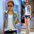 жилет джинсовый  женский жилетка чистый цвет мода туника женская отворот безрукавка женская Классические Кэжуал большие размеры джинсовые жилетки женские Акции