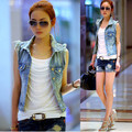 Chaleco de mezclilla de Las Mujeres Turn-Down Collar Casual Solo Pecho Sólido Chalecos Mujer Gilet Femme Chaleco Colete Jeans Oferta Especial