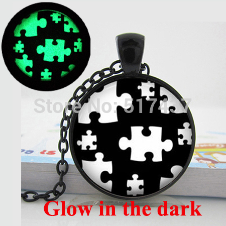 Glow in the dark Necklace Autism Black and White-Puzzle-Autism Awareness Jewelry autism puzzle necklace glowing jewelry