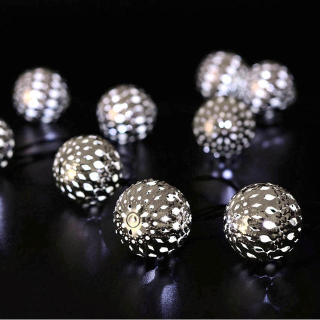 2016 10LED Moroccan Solar String Lanterns LED Fairy Lights Garden Party Christmas Decoration Ball Lamp, Warm White / White