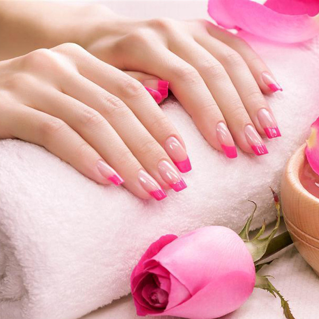 24 Pcs Set Nail Tips Acrylic False Pink French Art