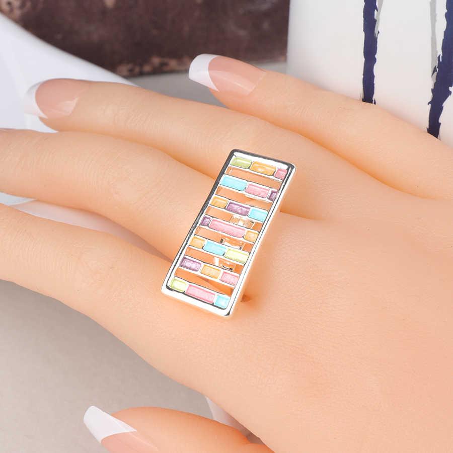 Kinel UniqueTrendy เคลือบแหวนเงินสีบุคลิกภาพแหวนหญิงเครื่องประดับ Vintage สาวของขวัญ