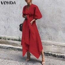 VONDA 2019 Summer Dress Women Vintage Short Sleeve Sexy V Neck Asymmetrical High Waist Long Maxi Dress OL Sundress Party Vestido