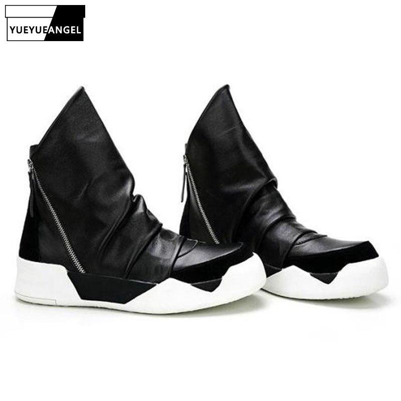 2019 nouveau hiver gothique Hip Hop épaisse plate-forme bottines hommes chaussures en cuir travail Zip haut en cuir véritable Punk bottes