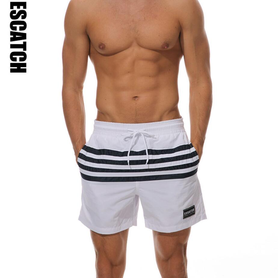 271e292074 pocket white striped quick dry swimwear men loose men Swimsuit Swimming  Trunks Man Swim Wear bathing suit maillot de bain 025