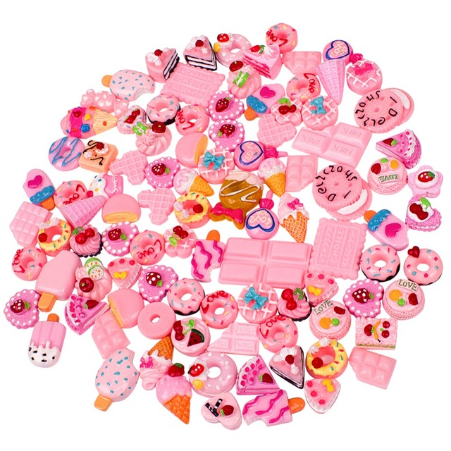 100 pcs Phone Case Stickers Accessories DIY Modeling Magic Plasticine Clay for Kids,Teens,Creative Art DIY Crafts