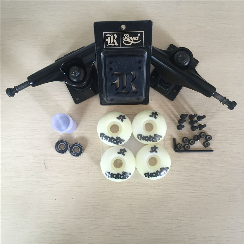 Good Skateboard Parts 5 Skateboard Trucks &51 or 52mm Skate Wheels ABEC-7 Bearings & Royal Riser Pads with skate Hardware Set