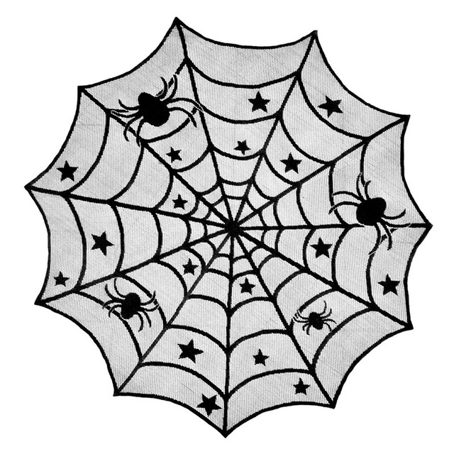 QuickDone Halloween Spider Web Tablecloth Lace Table Cover Parties Dinners  Black Spider Round Tablecloth Decoration Decor