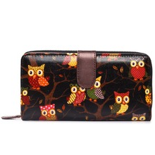 Women Men Scottie owl  Oilcloth Long Purse Coin Wallet Handbag Clutch Hand Bag L1109w