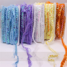12Yds $11.99  Latest Sequin Elastic Strech Lace Fabric Band Belt Tape Sew Cloth Dress Decorate Accessory More Color 3CM Width