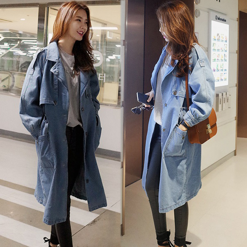 Fashion New Light Blue Cowgirl Female Denim Coat Long Trench Coat ...