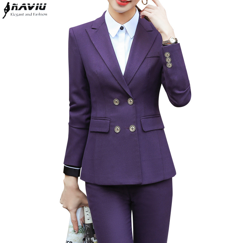 New Fashion Slim pants suits women high quality Temperament long sleeve blazer and trousers office business