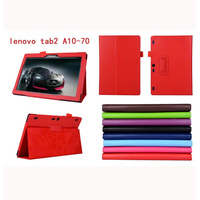 Luxury 2 Folder Magnetic Stand Function Litchi Grain PU Protective Leather Cases Cover For Lenovo Tab